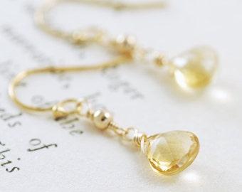Citrine Dangle Earrings 14k Gold Fill November Birthstone Yellow Gemstone Handmade