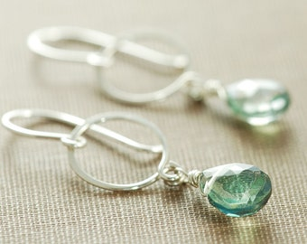 Silver Hoop Earrings With Dangling Teal Gemstones, Green Quartz Drop Earrings, aubepine