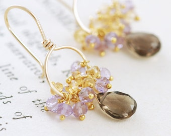 Gold Gemstone Earrings, Smoky Quartz Citrine Amethyst 14k Gold, Handmade