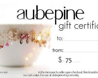 aubepine 75 Dollar Gift Certificate
