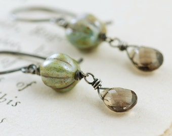 Vintage Style Earrings, Glass Green Smoky Quartz Gemstone Dangle