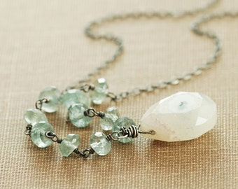 Sterling Silver Necklace, Moss Aquamarine Solar Quartz Teal Gemstone Pendant Necklace, March Birthstone, Bohemian Jewelry