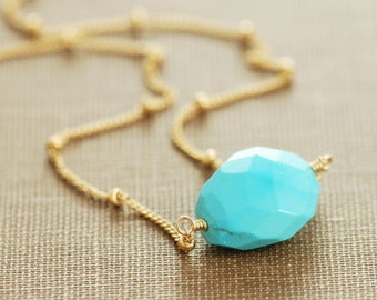 Turquoise Nugget Necklace 14k Gold Fill, December Birthstone Necklace, Bohemian Jewelry, aubepine