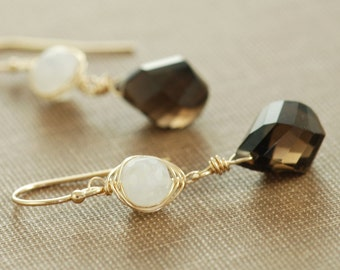 Mocha Brown Gemstone Moonstone Earrings, Gold Dangle Earrings, Handmade Boho Jewelry, aubepine