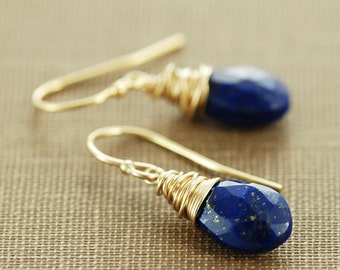Lapis Lazuli Gold Dangle Earrings, Blue Gemstone Wire Wrapped Earrings