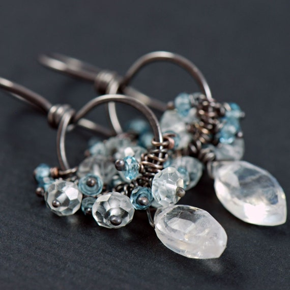 Moonstone Cluster Earrings, Handmade Sterling Silver Earrings with London Topaz and Moonstone, Blue Gray, aubepine