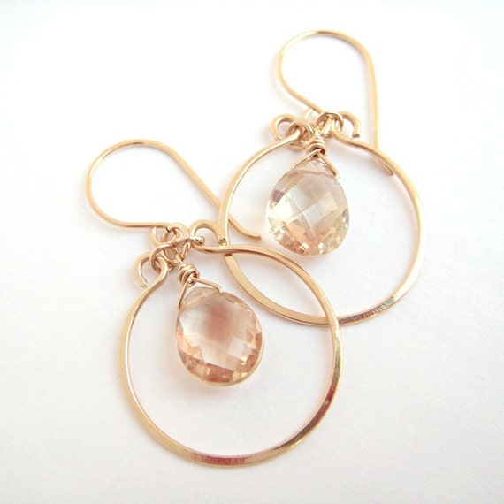 Sunstone Chandelier Earrings, Gold Hoop Earrings, Peach Gemstone Earrings, Sunstone Jewelry, aubepine