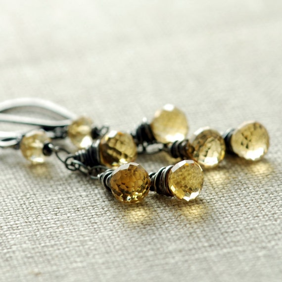 November Birthstone Citrine Dangle Earrings Sterling Silver, Honey Citrine Jewelry