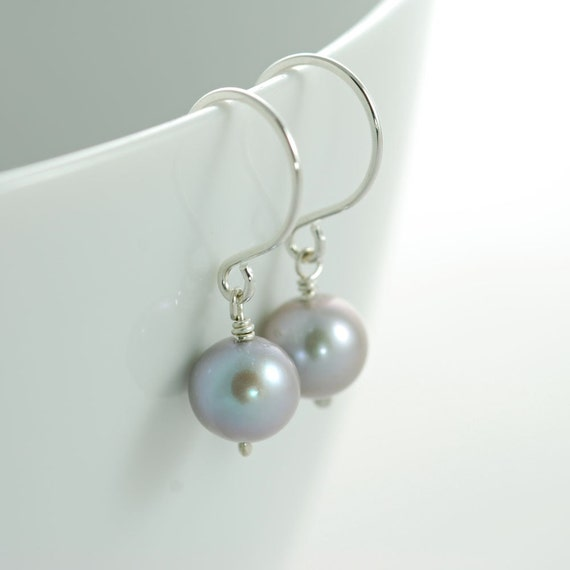 Gray Pearl Earrings Sterling Silver Dangle Handmade, aubepine
