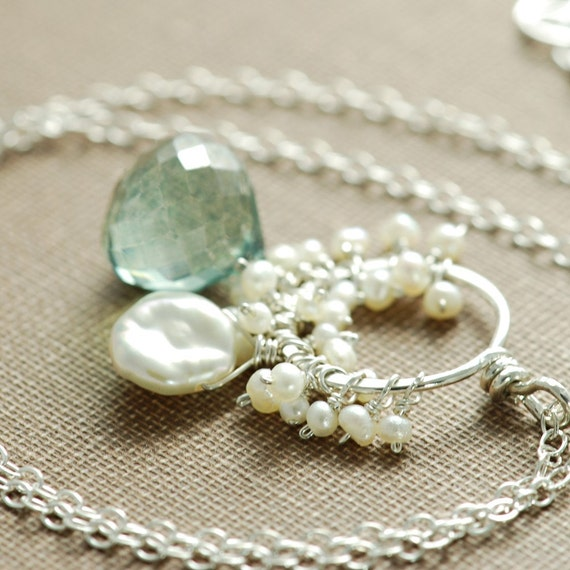 Teal Quartz and Pearl Necklace Sterling Silver, Gemstone Seed Pearl Pendant Necklace Handmade, aubepine