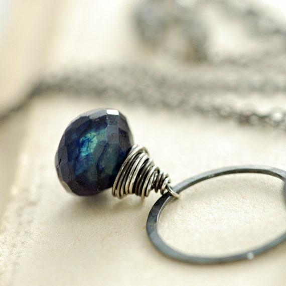 September Birthday Gemstone Necklace, Blue Labradorite Sterling Silver Spectrolite Pendant Handmade, Midnight, aubepine