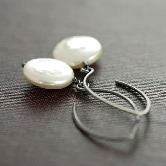Coin Pearl Earrings Sterling Silver, Pearl Drop Earrings, Oxidized, aubepine