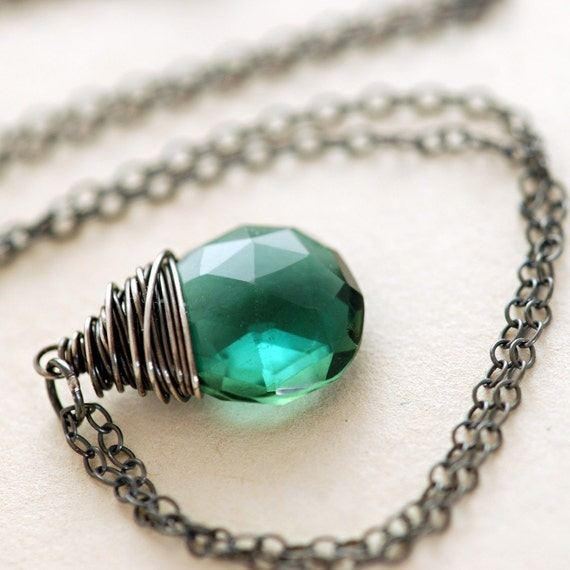 Emerald Green Quartz Necklace in Sterling Silver, Wire Wrap Pendant, Long Gemstone Necklace