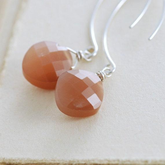 Moonstone Jewelry, Sterling Silver Earrings, Taupe Brown Moonstone Gemstone Handmade, Autumn Fashion, aubepine