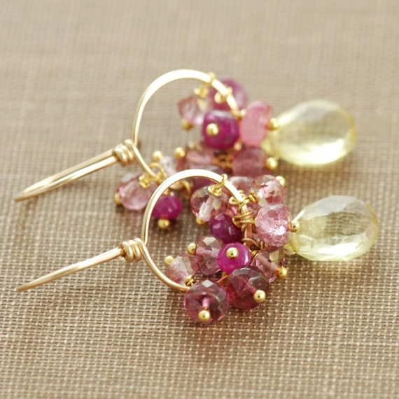 Pink Yellow Gold Gemstone Hoop Earrings, Lemon Quartz Pink Sapphire Tourmaline, Handmade Earrings
