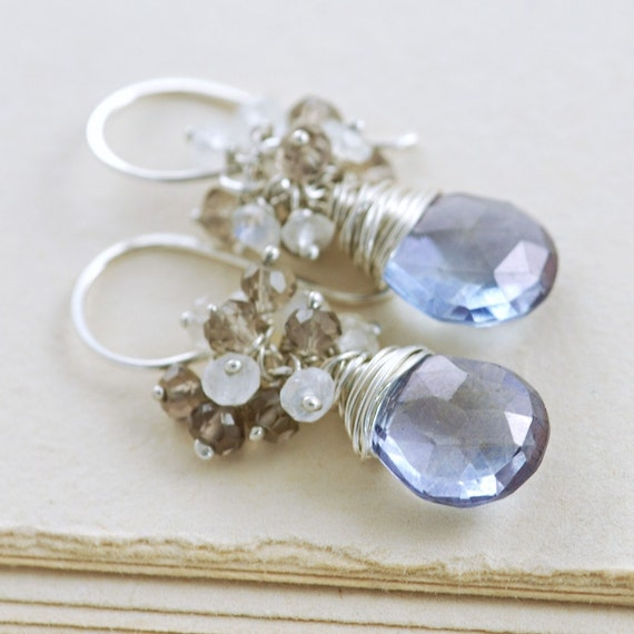 Blue Stone Moonstone Cluster Earrings, Sterling Silver Dangle Earrings, aubepine