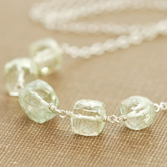 July Sale - Green Amethyst Silver Necklace, February Birthstone, Wire Wrapped Gemstone Necklace, aubepine