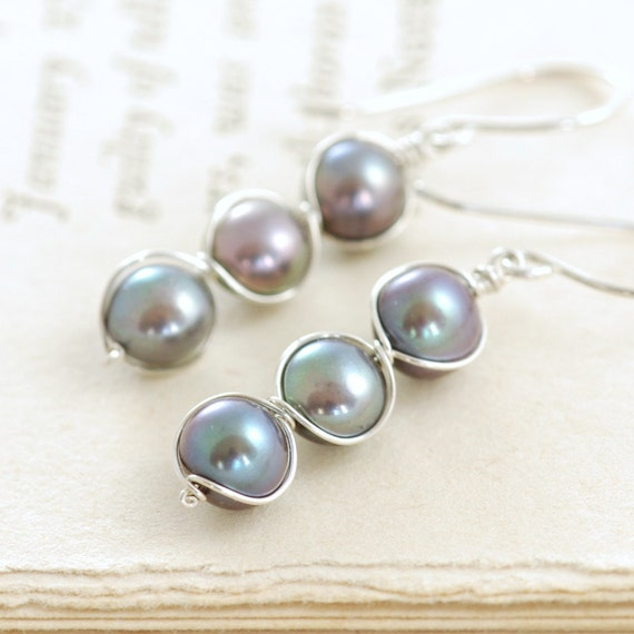 Peacock Pearl Earrings Wrapped in Sterling Silver, Handmade Pearl Jewelry, June Birthstone Earrings, aubepine