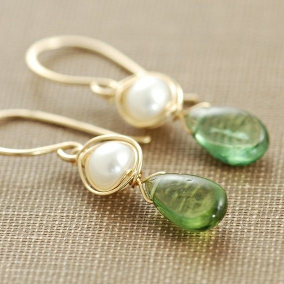 Green Stone Earrings, Apatite Pearl 14k Gold Fill Gemstone Handmade