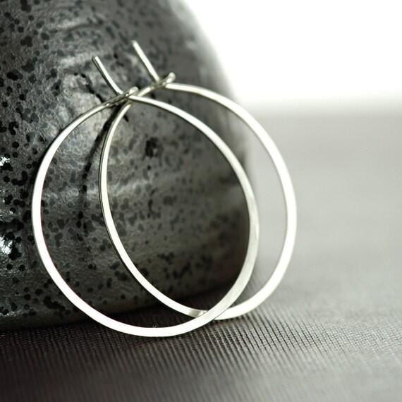 Sterling Silver Hoop Earrings, 1 Inch Hoop Earrings, Handmade