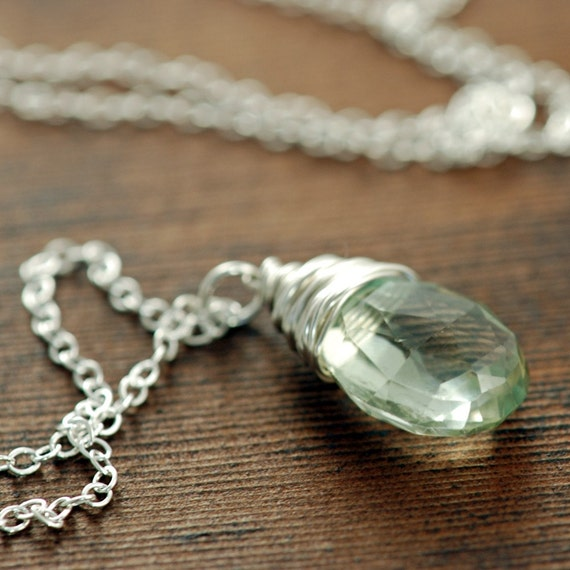 Winter Green Amethyst Necklace in Sterling Silver, February Birthstone, Handmade Gemstone Necklace, aubepine