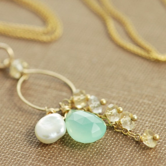 Teal Gemstone Necklace, Chrysoprase Citrine Keishi Pearl 14k Gold Fill Pendant Handmade, aubepine