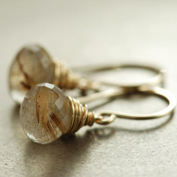 Golden rutilated quartz earrings gold dangle earrings for Golden rutilated quartz jewelry