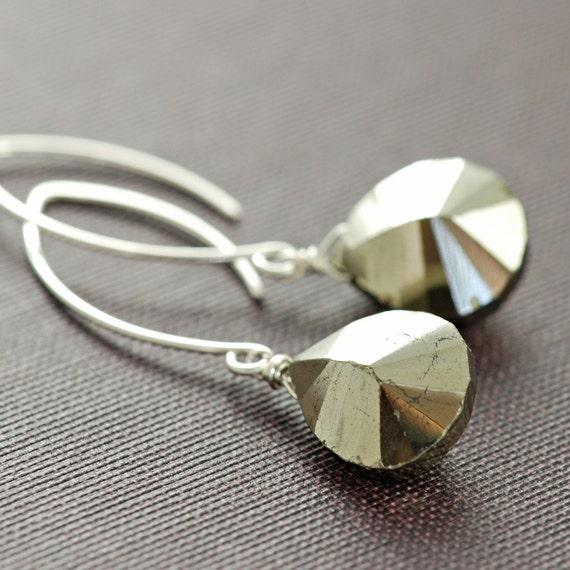 Pyrite Earrings in Sterling Silver, Gemstone Dangle Earrings, Glam Rock, aubepine