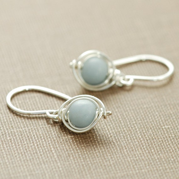 Gray Stone Earrings in Sterling Silver, Angelite Gemstone Wire Wrapped Dangle Handmade, aubepine