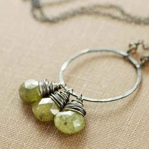Moss Green Garnet Necklace Wrapped in Sterling Silver, Green Gemstone Pendant, Spring Fashion, aubepine