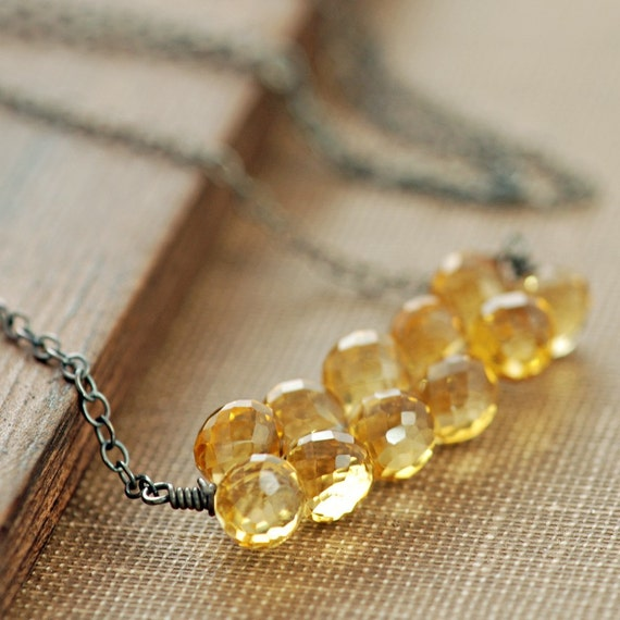 Citrine Necklace in Sterling Silver, Yellow Gemstone Necklace, November Birthstone, Honey Kisses