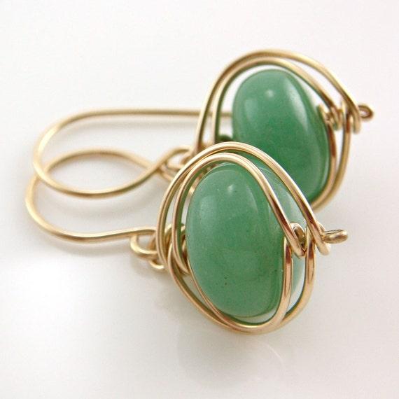 Wrapped Green Aventurine Handmade Earrings in 14k Gold Fill