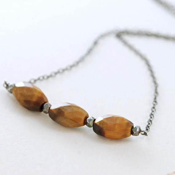 Tiger's Eye Necklace Sterling Silver, Modern Rustic Jewelry, Wire Wrapped Gemstone Necklace