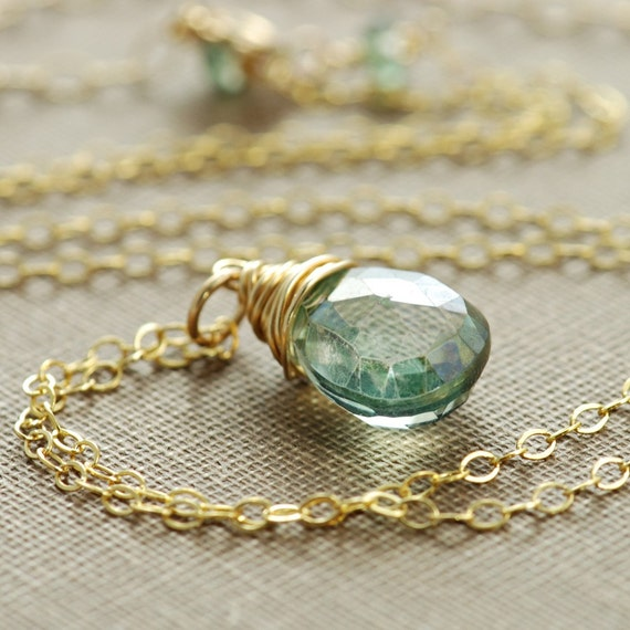 Teal Quartz Necklace 14k Gold Fill Wire Wrapped Gemstone Pendant Handmade, aubepine