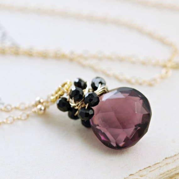 Purple Black Gemstone Pendant Necklace in 14k Gold Fill, Handmade Wire Wrap Statement Necklace, aubepine