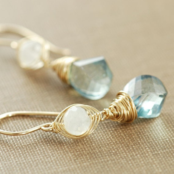 Earrings, Teal Quartz Moonstone 14k Gold Fill Handmade Wire Wrapped
