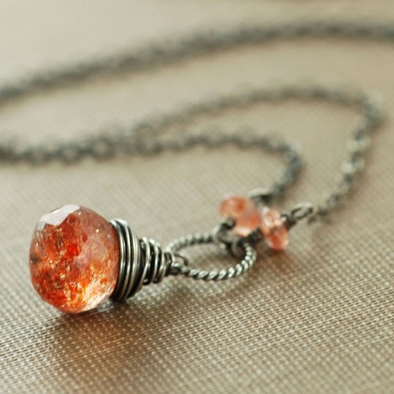 Sunstone Necklace Wrapped in Oxidized Sterling Silver, Gemstone Pendant Necklace,  Autumn, Fire Glow, aubepine