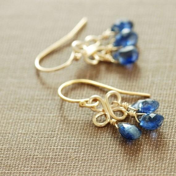 September Birthday Sapphire Blue Gemstone Chandelier Earrings, 14k Gold Fill Kyanite Dangle Clovers, aubepine