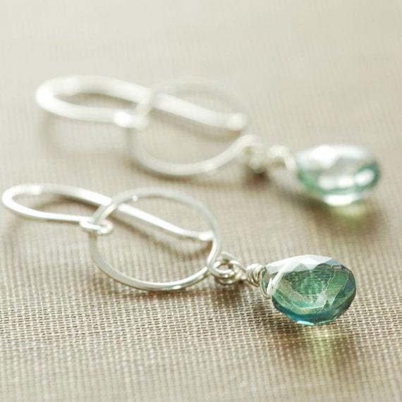 Silver Hoop Earrings With Dangling Teal Gemstones, Green Quartz Drop Earrings, aubepine