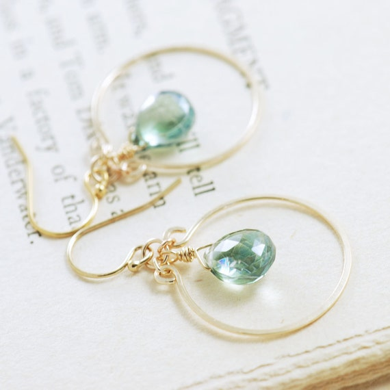 Teal Quartz Chandelier Earrings 14k Gold Fill, Aqua Green Gemstone Earrings, Bohemian Jewelry, aubepine