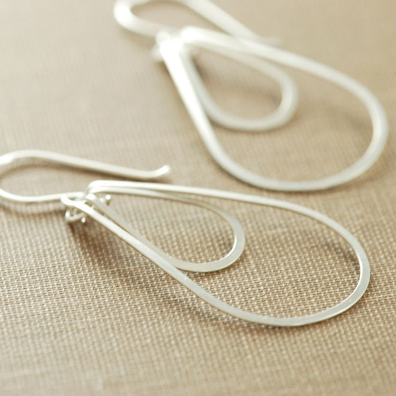 Sterling Silver Hoop Earrings, Layered Teardrops, Silver Dangle Earrings, aubepine