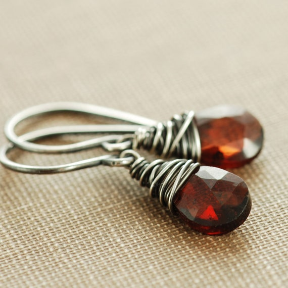 January Birthstone Garnet Earrings, Sterling Silver Dangle Earrings, Marsala Red Gemstone, aubepine