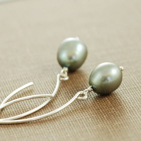 Teal Gray Pearl Earrings, Sterling Silver Pearl Jewelry, Wire Wrapped Dangle Earrings, Handmade