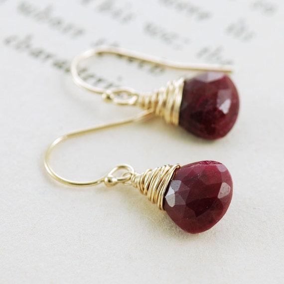 Ruby Gold Dangle Earrings, July Birthstone Jewelry, Red Gemstone Earrings, aubepine
