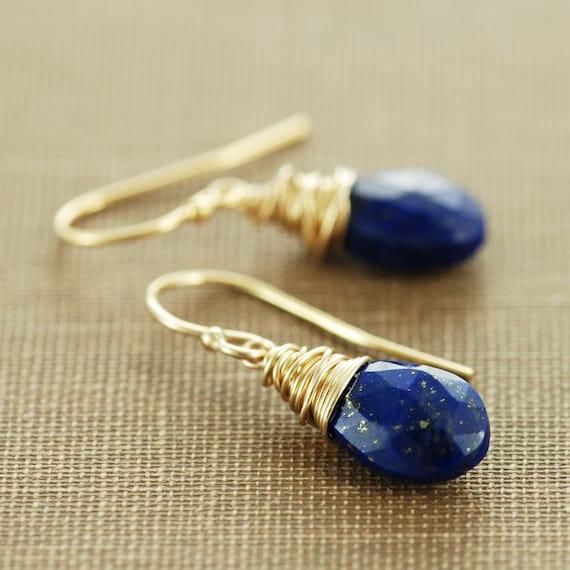 Lapis Lazuli Gold Dangle Earrings, Blue Gemstone Wire Wrapped Earrings