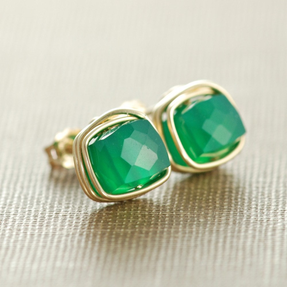 Emerald Green Onyx Gemstone Earrings May Birthday Jewelry
