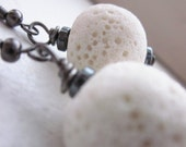 My LAST Pair . Textured White Lava Stone Earrings . White & Black . Wire Wrapped . Eco Friendly Jewelry . Gunmetal . Under 20 Under 15