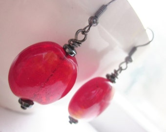 Chunky Red Earrings, Bright Red Fused Glass Circles with Hematite Gemstone, Stocking Stuffer, Gunmetal, Shimmering, Sparkling, For Her