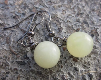 Jade Gemstone Earrings, Wire Wrapped in Gunmetal . Simple. Modern . Luminous . Minimalist