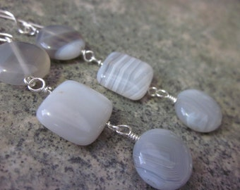 Botswana Agate Earrings. Natural Gemstone. Wire Wrapped in 925 Sterling Silver. Long Earrings. OOAK